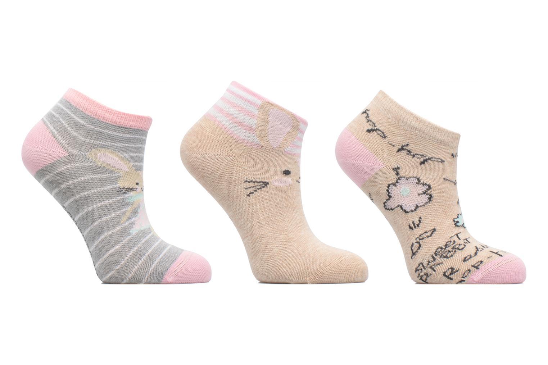 Chaussettes Invisibles Fille Lapin Pack de 3 coton Rose/beige