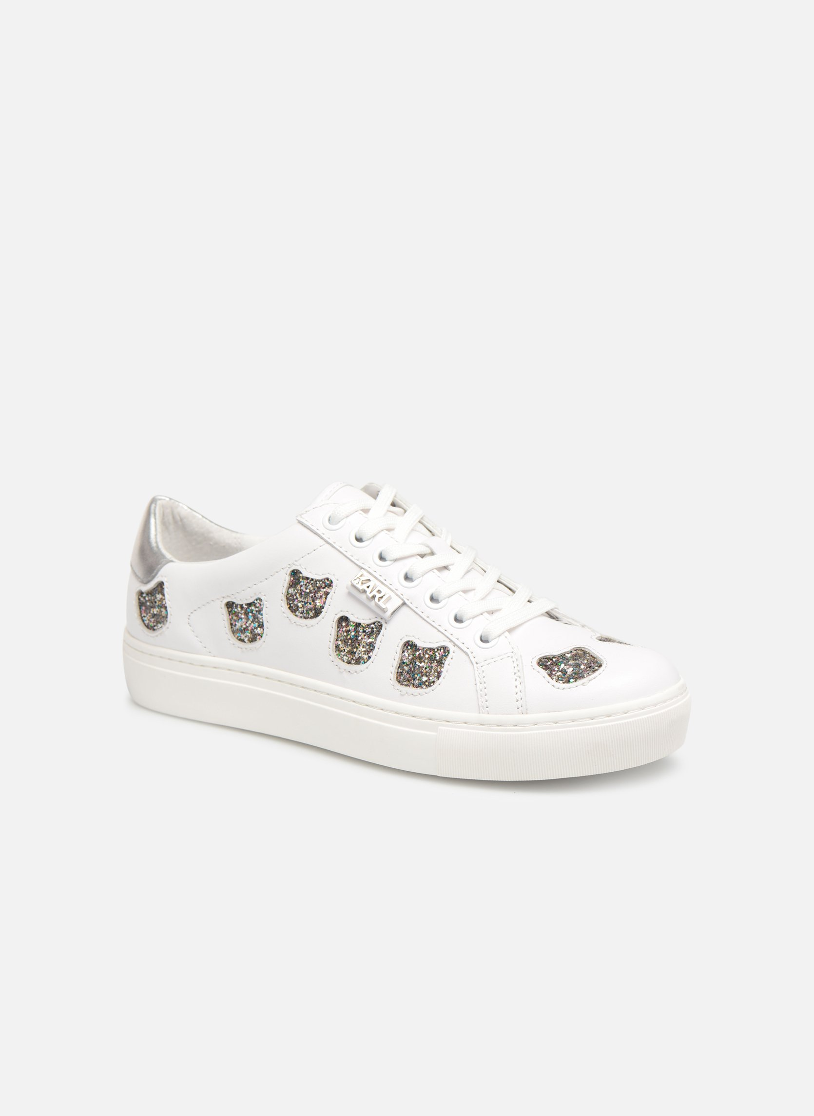 Marques Chaussure femme Karl Lagerfeld femme KUPSOLE Choupette Inlay Lace WHITE / SILVER