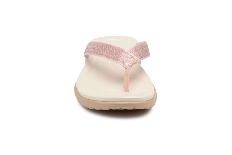 Tongs Crocs Capri V Sequin W Rose vue portées chaussures