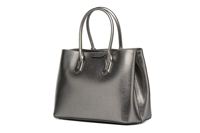 Handtassen Lauren by Ralph Lauren City Tote Tote Embossed Leather Zilver rechts