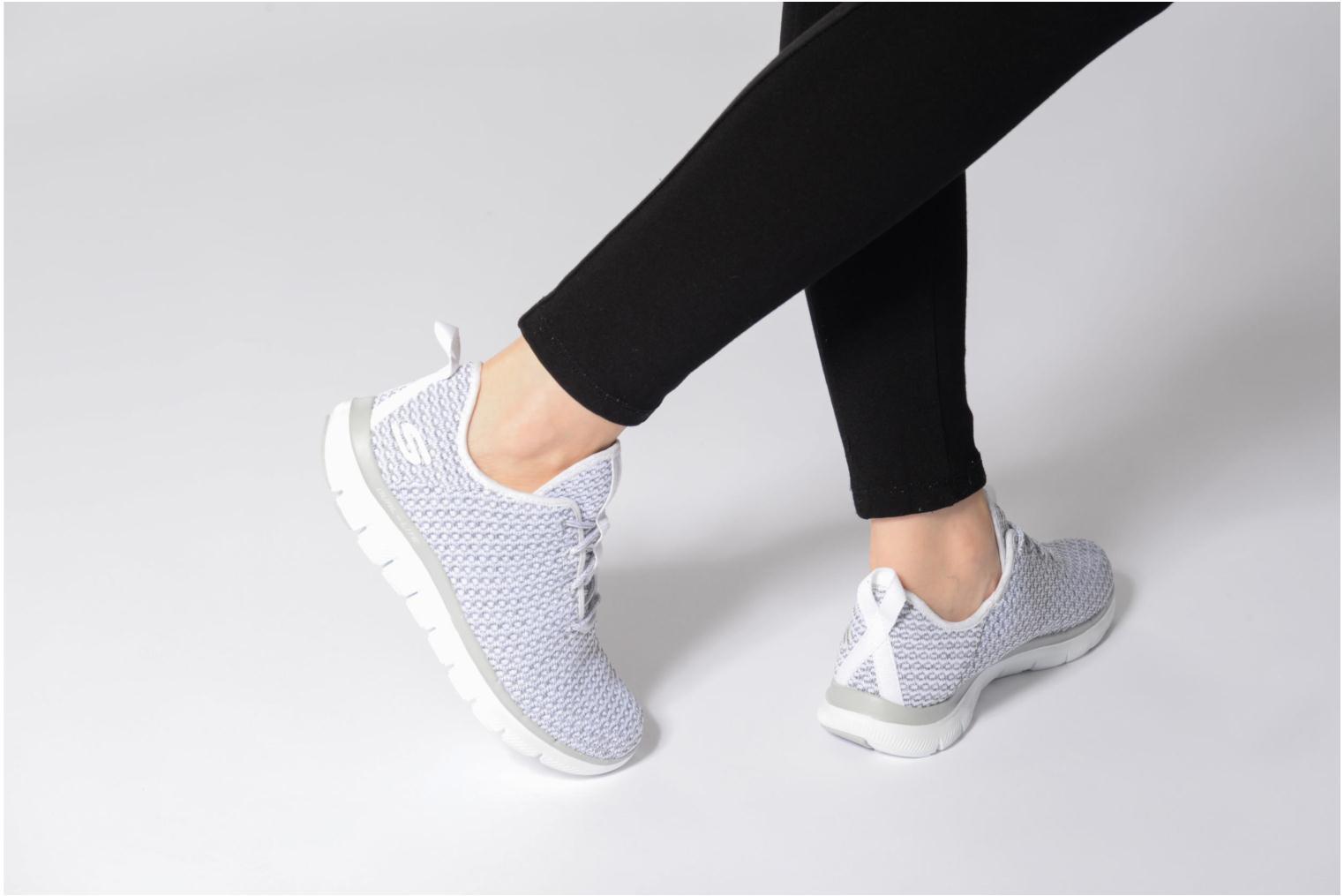 Sport shoes Skechers Flex Appeal 2.0-Bold Move Grey view from underneath / model view