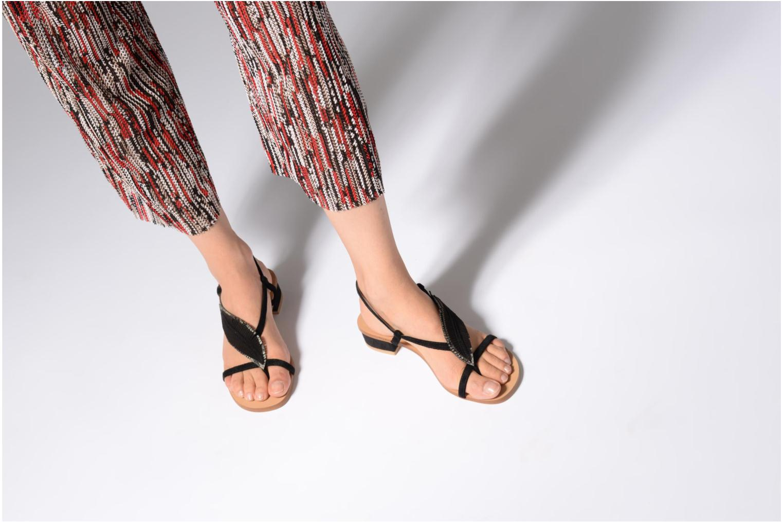 Sandales et nu-pieds Georgia Rose Mifeuilla Noir vue bas / vue portée sac