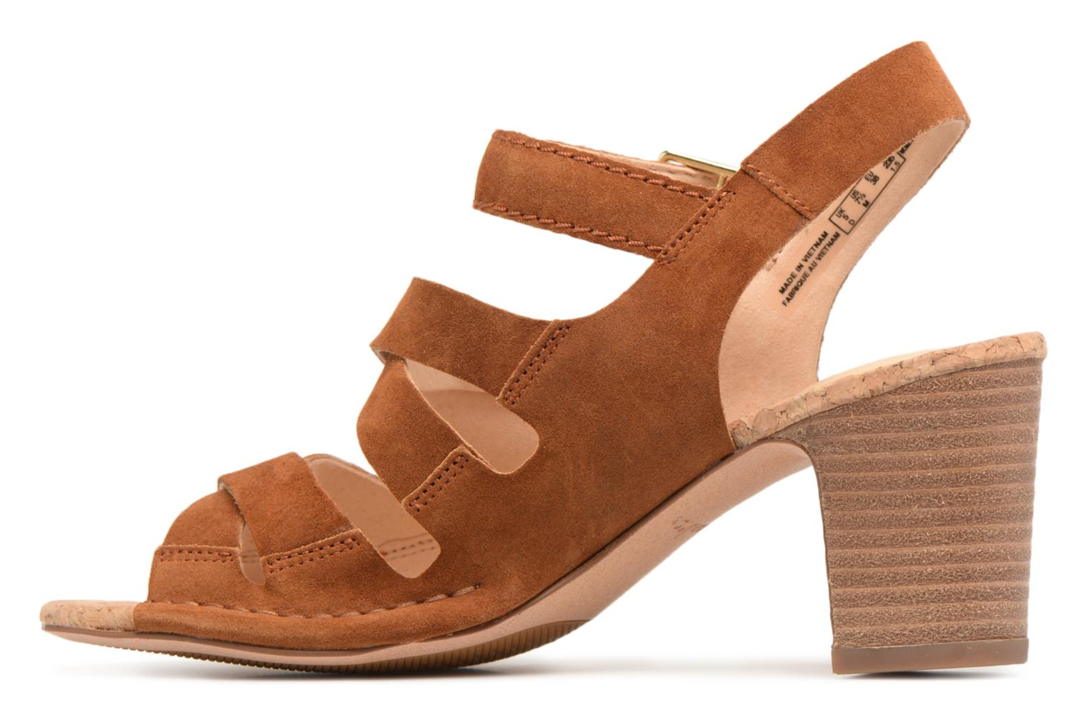 Sandals Clarks Spiced Ava Brown front view