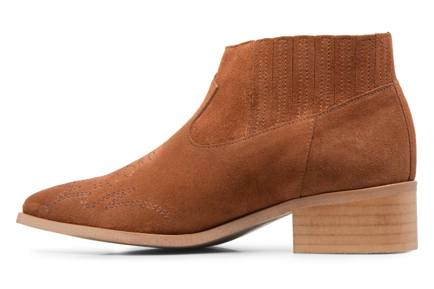 Ankle boots Vero Moda TOBIA LEATHER BOOT Brown front view