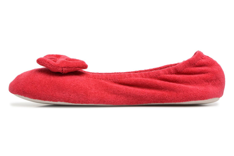 Chaussons Isotoner Ballerine éponge grand nœud Rouge vue face