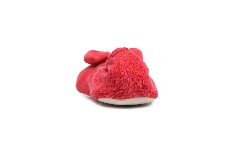 Chaussons Isotoner Ballerine éponge grand nœud Rouge vue droite