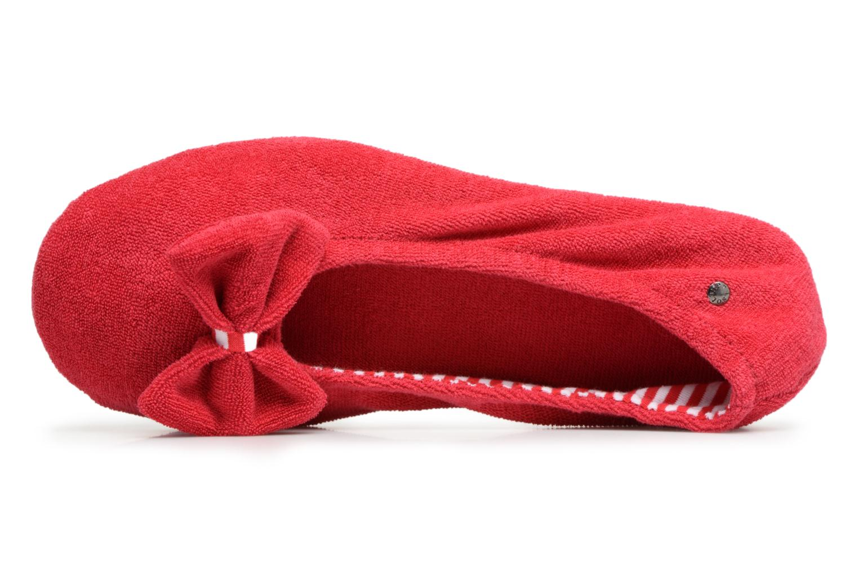 Chaussons Isotoner Ballerine éponge grand nœud Rouge vue gauche