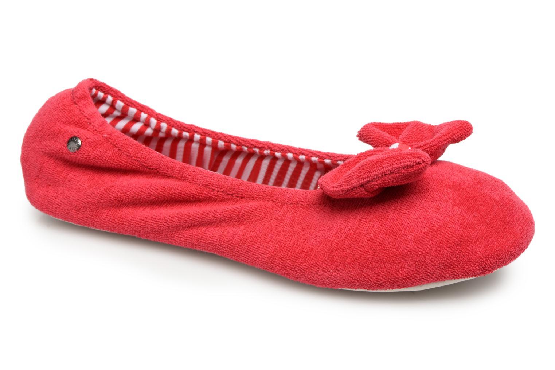 Chaussons Isotoner Ballerine éponge grand nœud Rouge vue détail/paire