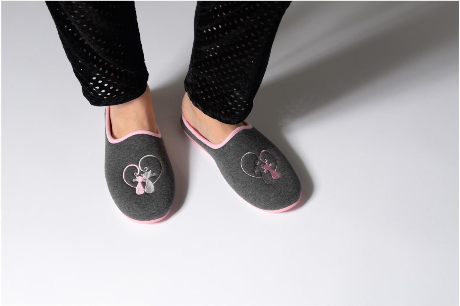 Mule confort + jersey broderie chat Gris