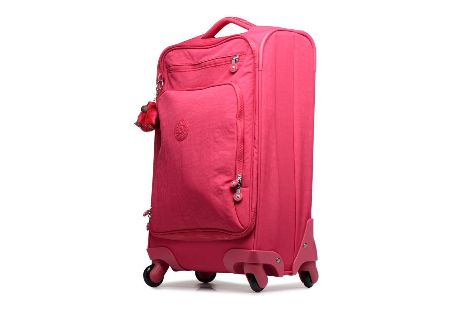 Bagages kipling YOURI SPIN 55 Rose vue portées chaussures