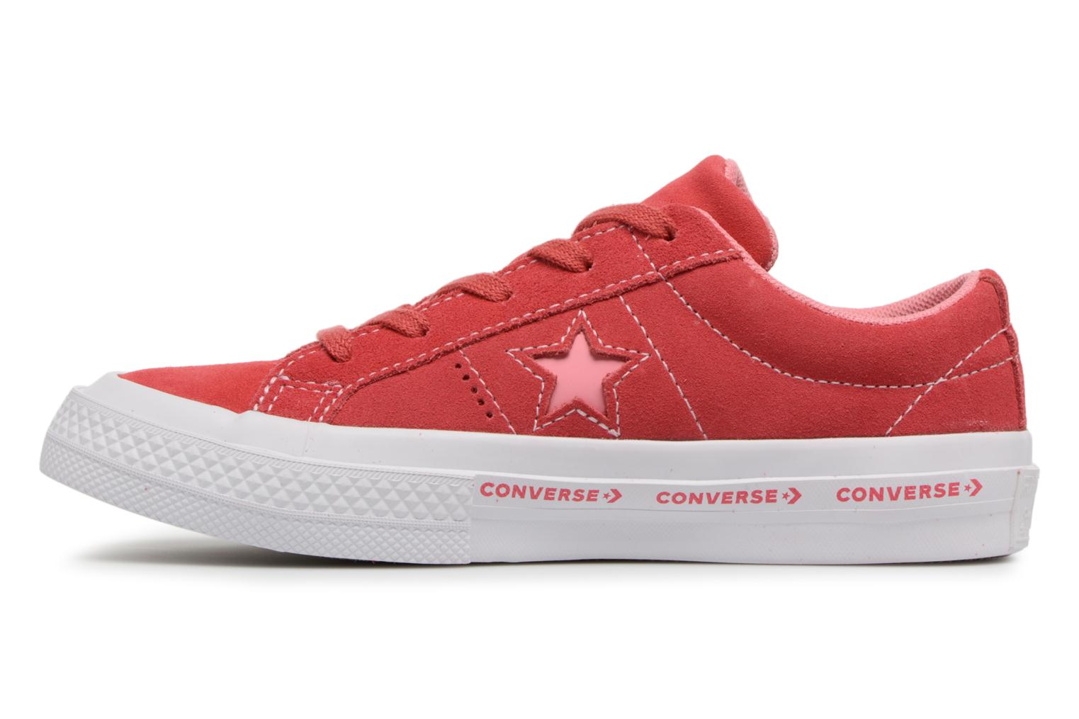 Paradise Pink/Geranium Pink/White Converse One Star Ox Converse Wordmark Suede (Rose)