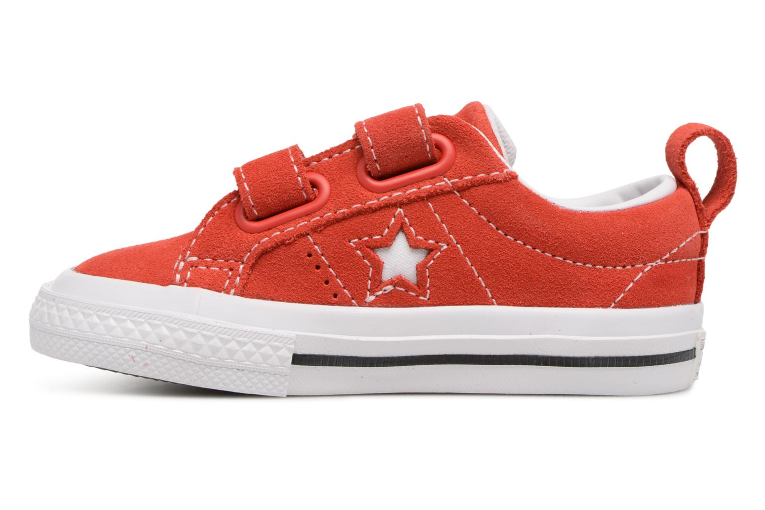 Red/White/Black Converse Converse One Star Suede 2V Ox (Rouge)