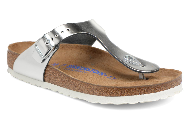 Grandes descuentos últimos zapatos Birkenstock Gizeh Cuir Soft Footbed W (Plateado) - Sandalias Descuento