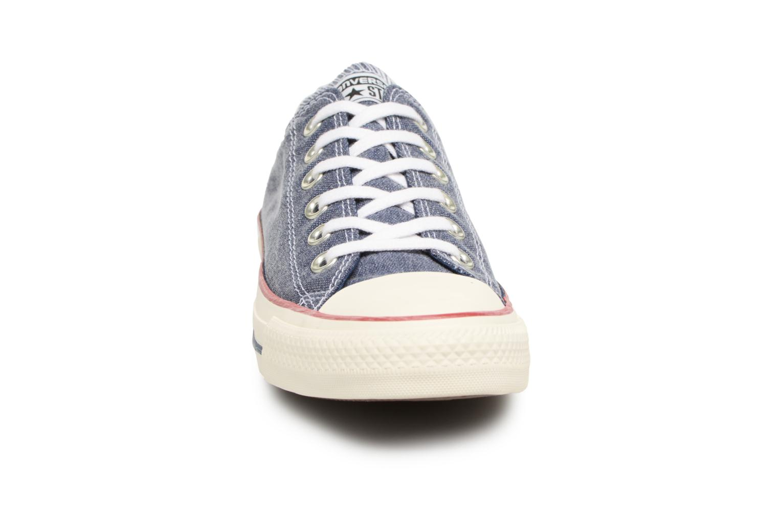 Baskets Converse Chuck Taylor All Star Stone Wash Ox W Bleu vue portées chaussures
