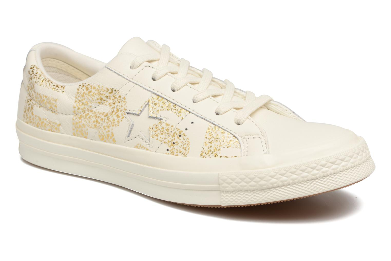 Egret/Gold/Egret Converse One Star Converse Wordmark Ox (Blanc)