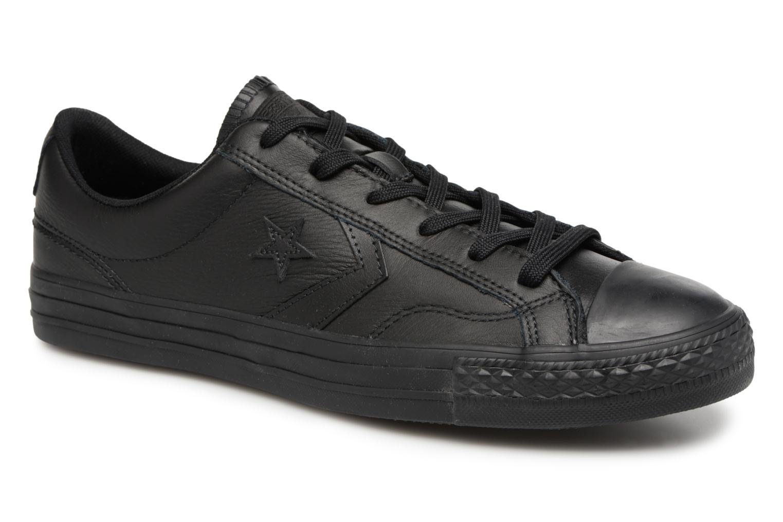 BLACK/WHITE/WHITE Converse Star Player Leather Essentials Ox (Noir)