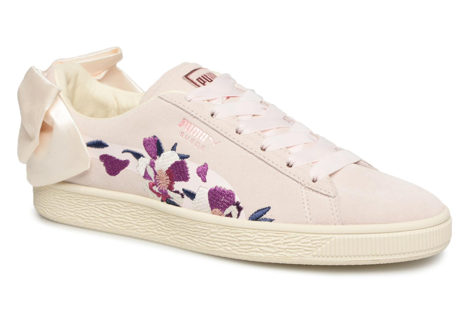 Marques Chaussure femme Puma femme Suede Bow Flowery Mauve Morn-Rose Gold